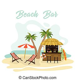 barman, heureux, océan, bungalow, dessin animé, barre, côte, cocktail, noix coco