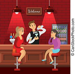 barman, mówiąc, napój, samica, przyjaciele, bar
