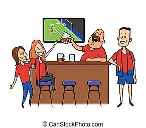 barman, restaurant., bar., alcool, plat, drink., caractère, football, -, ventilateurs, illustration, applaudissement, bière, vecteur, white., équipe, barre, allumette, dessin animé, image.