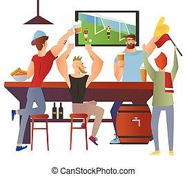 barman, restaurant., bar., alcool, plat, drink., caractère, football, -, ventilateurs, illustration, arrière-plan., bière, vecteur, applaudissement, équipe, barre, blanc, allumette, dessin animé, image.