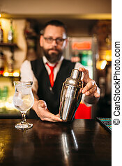 Barman with shaker behind a bar counter