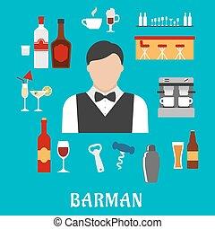 barman, y, barman, plano, iconos