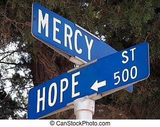 barmhärtighet, och, hopp
