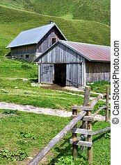 Barn and cabin in the italian alps in summer