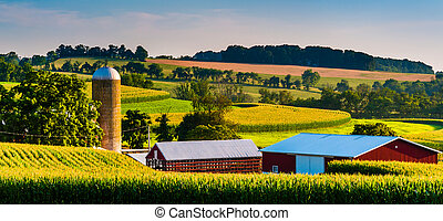 Barn and silo on a farm in rural York County, Pennsylvania.