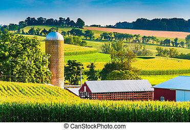 Barn and silo on a farm in rural York County, Pennsylvania....