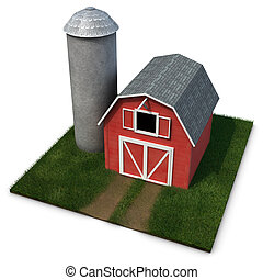 Barn and Silo on a square patch of grass isolated on a white...
