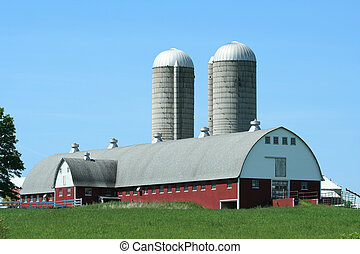 Barn and silos - A red bard with two grain silos