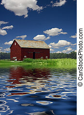 Barn and water