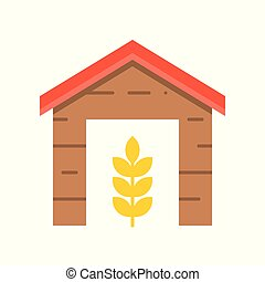 Barn and wheat, agriculture concept icon in flat style
