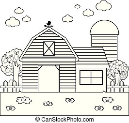 Barn at the farm. Black and white coloring book page