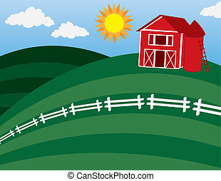 Barn at the top of a hill