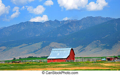 Barn Backed by Mountains - Absaroka Mountains back this...