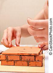 barn, bygga, a, litet hus, gjord, ??of, tegelstenar