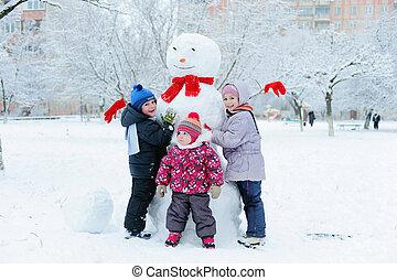barn, byggnad, snögubbe, in, trädgård