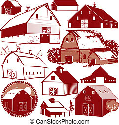 Barn Collection - Clip art collection of various red barns