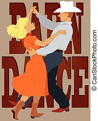 Barn dance - Couple dressed in country-western style dancing...