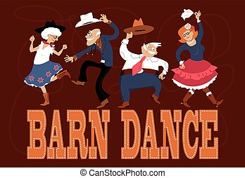 Senior people dressed in traditional western costumes dancing at a barn dance, EPS 8 vector illustration, no transparencies