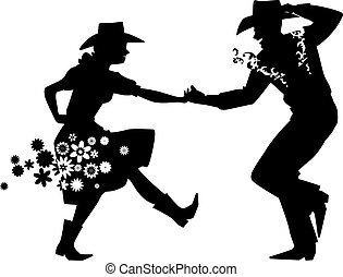 Barn Dance Silhouette - Couple dancing Country Western, EPS...