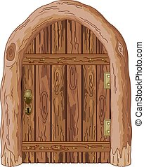 Barn Door - Illustration of a wooden barn door