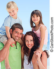 barn, föräldrar, deras, leka, lycklig