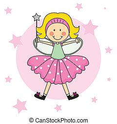 barn, fairy, hos, en, trylleri stav