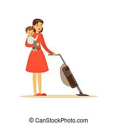 barn, fantastisk mamma, dammsug, tecken
