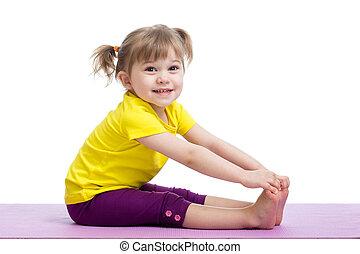 barn, flicka, gör, fitness, träningen