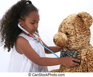 barn, flicka, läkare