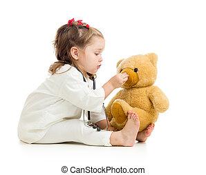 barn, flicka, leka, läkare, med, leksak