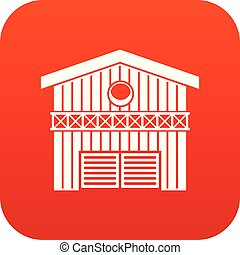 Barn for animals icon digital red