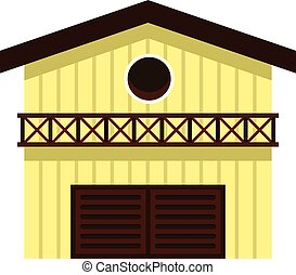 Barn for animals icon, flat style