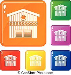Barn for animals icons set vector color