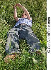 barn, gräs, lie's