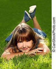 barn, gräs, utomhus