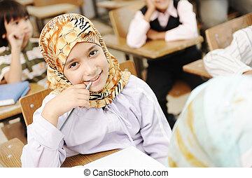 barn, hos, skola, klassrum