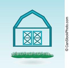 Barn house. Grass concept.