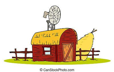 Barn house with straw sheaf.