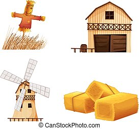 Barn houses, hays and a scarecrow - Illustration of the barn...