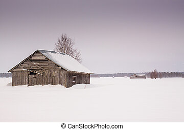 The snow fell on the fields leaving the barn houses alone in the middle of the fields.