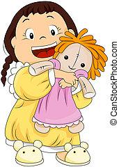 barn, hugging, hende, dukke