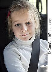 barn, i bil, med, bilbälte