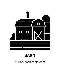 barn icon, black vector sign with editable strokes, concept illustration