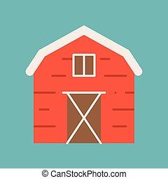 Barn icon, flat design vector
