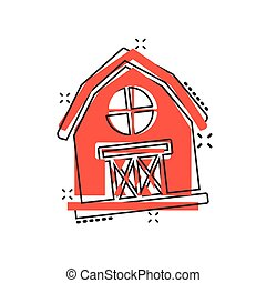 Barn icon in comic style. Farm house cartoon vector illustration on white isolated background. Agriculture storehouse splash effect business concept.