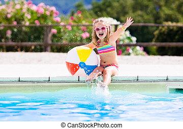 barn, in, badbassäng, på, sommar ferier