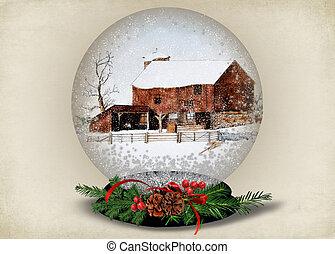 barn in Christmas snow globe
