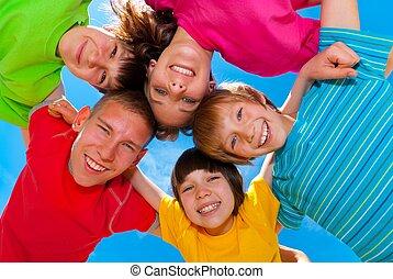 barn, in, färgrik, kläder
