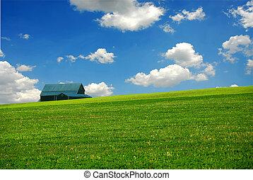 Barn in farm field - Barn in summer farm field, deep blue ...