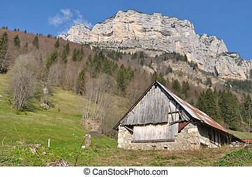 barn in mountains